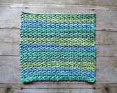 ONE Large Crochet Washcloth - 100% Cotton Wash Cloth - Handmade - Gift Idea - Seaside Stripe