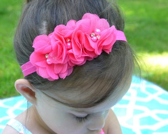 Chiffon Bead Flowers Heaband - Hot Pink Color -Baby Flowers Headband - Hot Pink Flowers Headband -Photo Props/Birthday/Gift - Baby to Adult