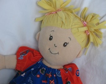 UF-Dress fits Baby Stella, Bitty Baby,Waldorf dolls-University of Florida-Peasant style-Handmade-Ready to ship-UF Gators-Blue Paisley/Orange