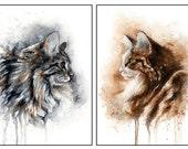 Set of 2: 5x7 Original Custom Watercolour Pet Portraits