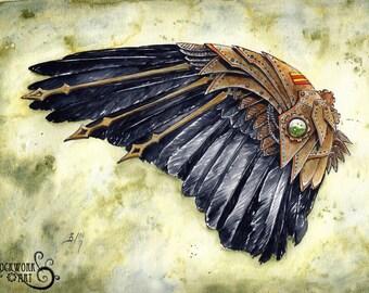 SALE! Corvid Wing: A Study in Clockwork - Steampunk Fine Art Watercolour Print