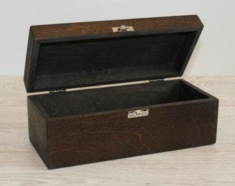 Wooden Keepsake Box / Dark Brown Box / Dark Storage Box 8.46 x 2.75 x 2.95 inch
