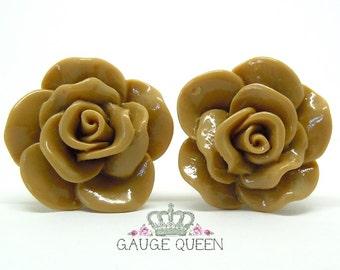 "Chocolate Brown Rose Plugs / Gauges. 4g / 5mm, 2g / 6.5mm, 0g / 8mm, 00g / 10mm, 1/2"" / 12mm, 9/16"" / 14mm"
