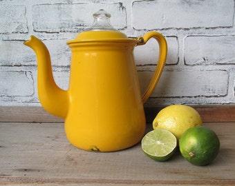 Vollrath Coffee Pot Yellow Enamel Vintage Percolator