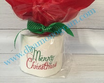 Monogrammed Toilet Paper, Embroidered Christmas toilet paper gift, Merry Christmas