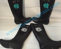 Monogrammed Personalized BLACK Rain Boots.....Personalized with Vinyl
