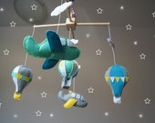 Ready to ship - Baby Crib Mobile - Music Baby Mobile - Felt Mobile - Nursery mobile -  Baby mobile Balloons and airplanes