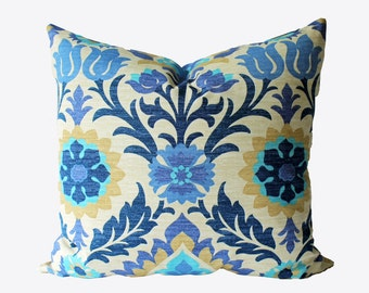 Decorative Designer Suzani Blue Outdoor Pillow Cover, 18x18, 20x20, 22x22 or Lumbar Throw Pillow