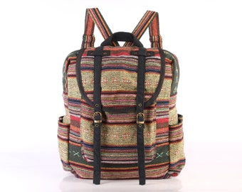 Large Woven Backpack Ethnic Tribes Rustic Folk Traditional Bag, Organic Cotton Textile Multicolor, College University Book bag