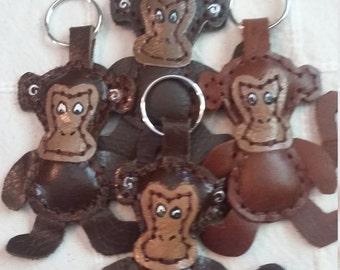 Leather Monkey Keyring