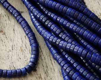 "Lapis blue howlite beads - 16"" strand, faux lapis howlite beads, 6x3mm blue howlite heishi, smooth cut heishi beads, intensely blue beads"