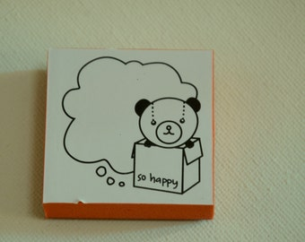 A  Rubber Stamp -Teddy Bear So Happy Bubble