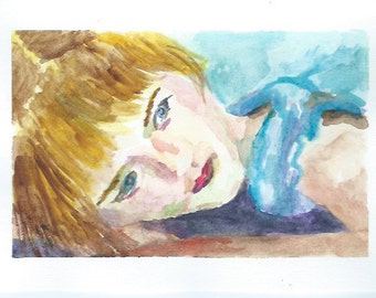 Original Watercolor Portrait Painting/ Illustration- Girl in Blue