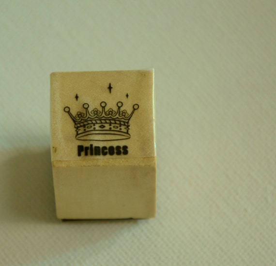 A Mini Wooden Rubber Stamp - Princess Crown