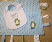 Custom Personalized Golf Applique and Embroidered Sensory Ribbon Tag Blanket with Coordinating White Bib