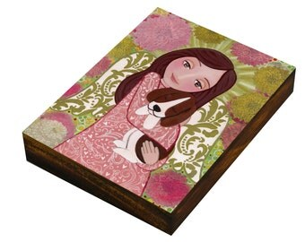 Angel with Dog,Art Painting, Print Mounted On the Wood (size 3.5 x 4.7, 8.9 x 12 cm), Mixed Media, Wall Decore by