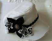 Black and White Distressed Cadet Hat