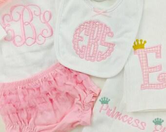 Personalized Baby Girls GIFT SET  Burp cloths, Bib- Ruffle diaper cover- Flower headband- baby pink Monogram- So sweet.