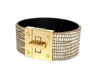 037 SOFT BROWN- Leather Cuff Bracelet