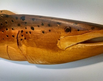 Hand Carved and Stained Brown Trout