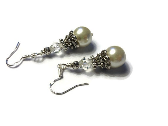 Ivory Bridal Earrings Ivory Pearl Earrings Wedding Jewelry