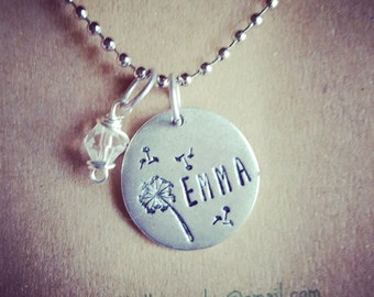 Name charm necklace, custom charm necklace, dandelion