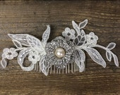 Willow, Rhinestone and pearl hairpiece with lace vine on comb