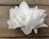 Marlow white silk flower, white habotai silk flower with crystals, millinery flower, wedding flower