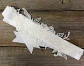 Henriette off white lace bridal sash with pearls, handmade lace wedding belt