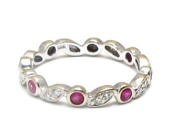 14k Ruby and Diamond Band - Solid 14K White Gold - Size 6.75 - Weight 2.3 Grams