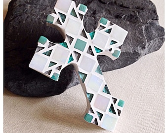 Mosaic Cross - Gift for Baptism - Christening Gift - Baptism Gift - Personalized Cross - Aqua Gray - Wall Cross - Gift from Godparents