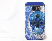 Astrology Sugar Skull Galaxy S6 Case - Astrologiskull - TOUGH dual layer S 6 Case with Blue Skull and Star Map Art