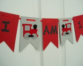 I Am One Train Banner, Paper and Felt Garland, Boys Birthday Banner, Felt Train Bunting, Train Birthday Banner, Red, Gray