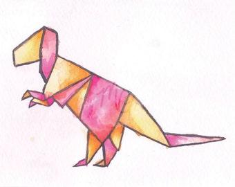 Origami T-Rex Watercolor Print