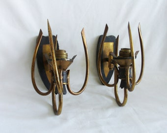 Den wall mount lamps PAIR vintage brass two light sconces. Bedroom, mood lighting. Slender spikes, Re-purpose as candle holder, home decor