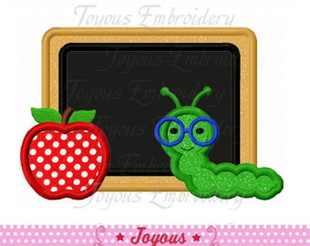 Instant Download Back to school Chalk Board Apple With Worm Applique Machine Embroidery Design NO:1768