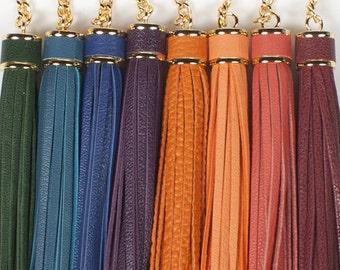 Leather Tassel Keychain keyring bag charm, tassel charm, tassels key chain - Choose One