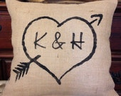 Personalized pillow, rustic wedding pillow, burlap pillow, heart and initials pillow,