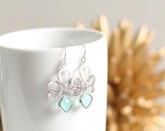 Silver Love Knot Chandelier Earrings Chalcedony Green White Stone Wedding Bridesmaid