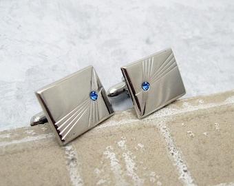 Vintage Cufflinks Tie Clip Set Blue Rhinestone Mens Jewelry H746