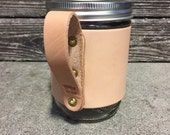 16oz. Leather Wanderer Travel Mug in Natural with Natural Handle // Gift for Men or Women