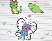 Caterpie/Metapod/Butterfree Stickers and Magnets