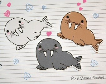 Chibi Walrus Stickers and Magnets