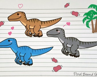 Chibi Utahraptor (Velociraptor) Stickers and Magnets