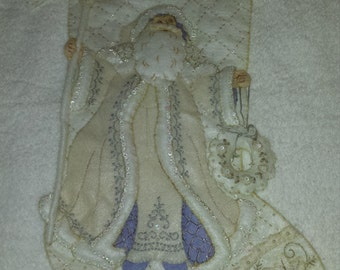 Hand Beaded and Embroidered Felt Applique Christmas Stocking
