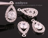 2pcs-14mmX7.5mmBright Rhodium plated Brass Faceted teardrop CZ,zirconia Teardrop pendants,Charms-Clear(K025S)