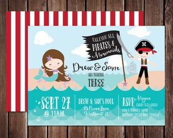 Pirates and Mermaids Birthday Printable PDF invitation - 5x7 double sided