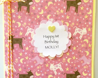 First Birthday Card-Any Birthday Card-Love You To The Moon And Back-Daughters-Granddaughter-Any Relative Or Friend