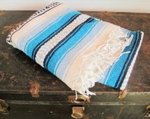 A Mexican- Southwestern Style  'Saltillo' Blanket - Throw - Black, White, Light Blue and Turquoise Blue - Mexican Blanket - Rug - Bed Cover