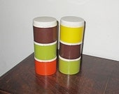 70s Vintage Tupperware Set of 6 With Two Lids Autumn Colored Stackable Spice Shakers or Keepers, Excellent